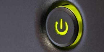glowing green power button