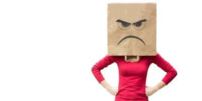 Angry women with bag over head