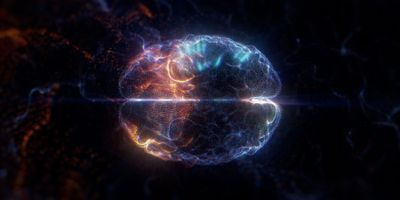 Artistic rendition of a brain made of light