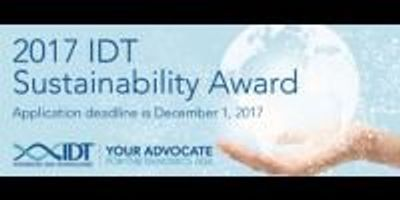 IDT's 2017 Sustainability Award Funding to Exceed $50K